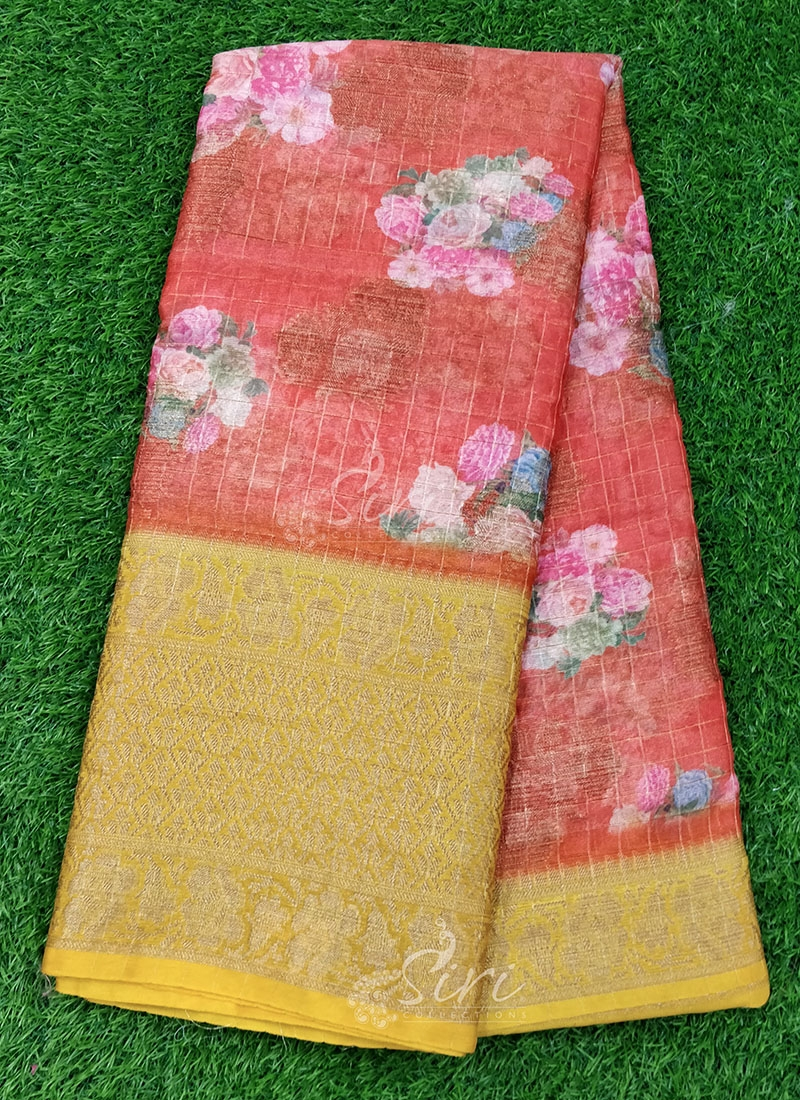 Rustic Orange and Yellow Organza Saree in allover Flower Design with Kanchi Border