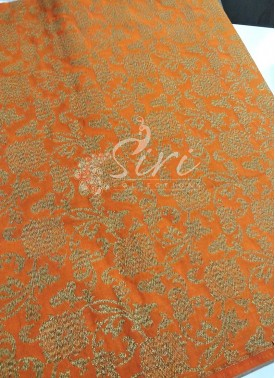 Rustic Orange Banarasi Silk Fabric in Antique Zari Per Meter