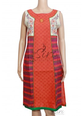 Rustic Orange Cotton Kurti with Self Design and Embroidery Work