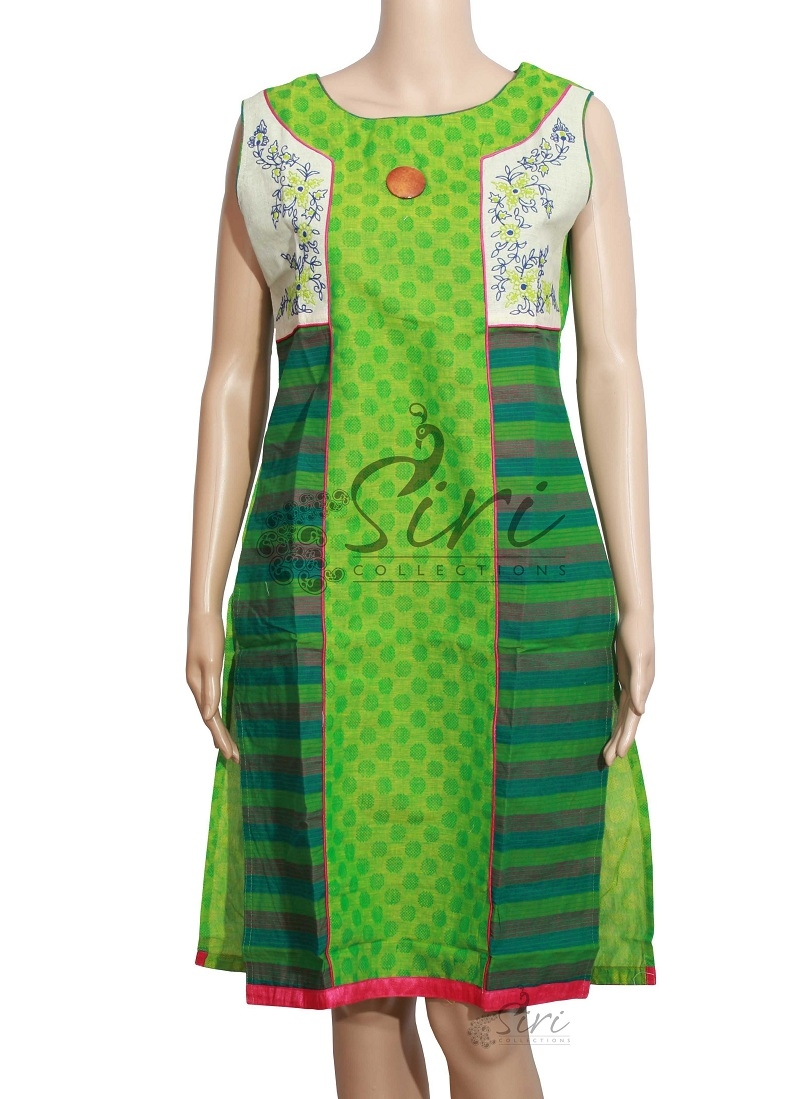 Green Cotton Kurti With Self Design And Embroidery Work