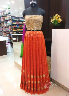 Rustic Orange Raw Silk Gold Net Lehenga Crop Top Fabric Set