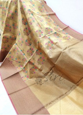 Sandal Yellow Soft Kora Saree with Meena Butis and Self Checks