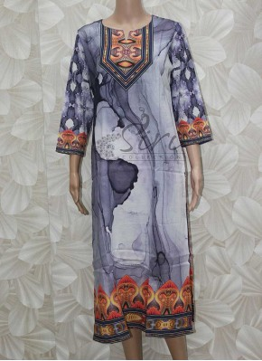 Satin Cotton Kurti in Digital Print