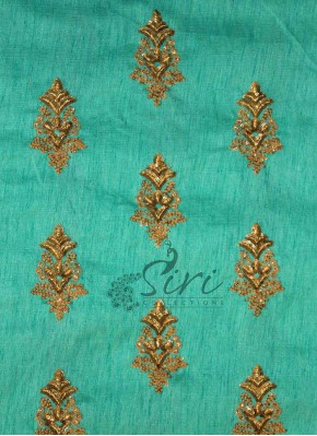 Sea Blue Fine Raw Silk Fabric in Sequins and Embroidery Work by Meter