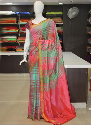 Sea Green Pink Checks Pattu Silk Saree