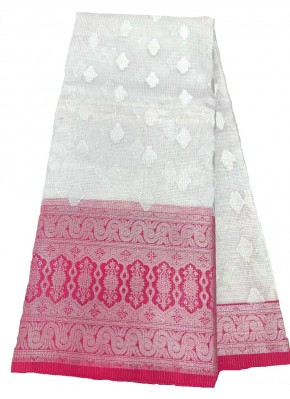 Serene Silver Tissue Banarasi Kota Saree with Contrast Border