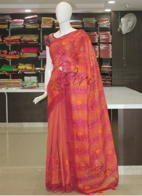 Shaded Chanderi Saree in Allover Embroidery Work
