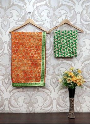 Shaded Orange Fancy Kota Saree with Designer Blouse Fabric