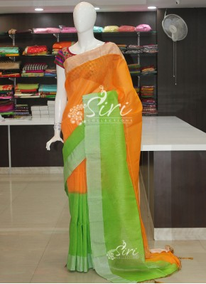 Shaded Orange Green Jute Linen Saree in Silver Zari