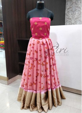 Shimmer Jute Silk Lehenga Reddish Pink Raw Silk Crop Top Fabric Set