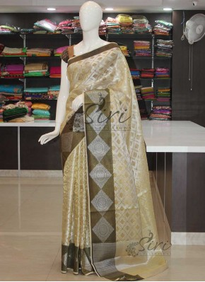 Silver Gold Designer Tissue Saree in Self Design