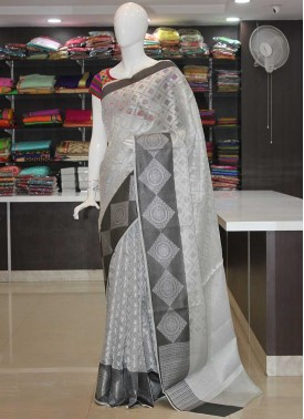 Silver Grey Designer Tissue Saree in Self Design