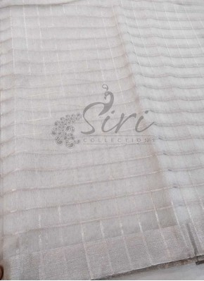 Silver Kora Fabric in Silver Zari border and Checks Per Meter