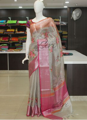 Silver Tissue Saree in Kanchi Borders and Embroidery Work