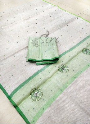 Silver Tissue Saree in Mirror Work