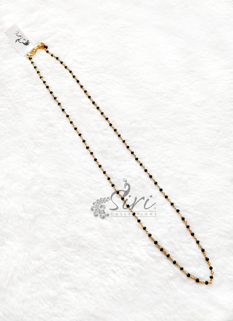 Simple Black Beads Handmade Chain