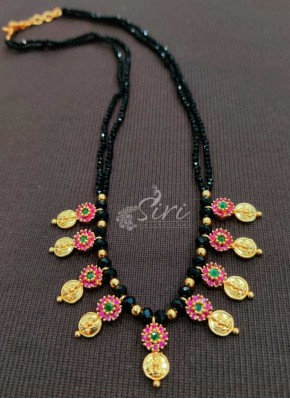 Simple Black Beads Handmade Chain Necklace