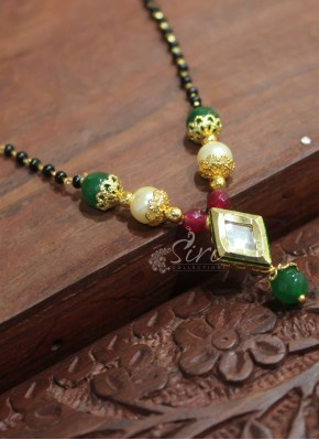 Simple Black Beads Mangalsutra in Kundan Pendant