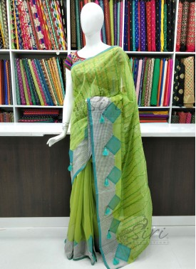Simple Chanderi Saree in Applique and Embroidery Work
