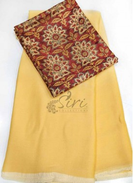 Simple Chiffon Saree With Digital Print Blouse
