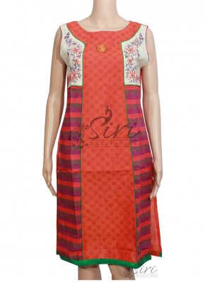Simple Cotton Kurti with Embroidery Work