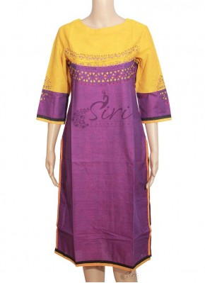 Simple Cotton Kurti with Hand Work