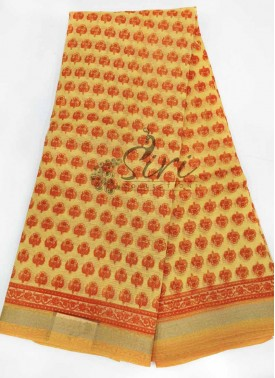 Simple Elegant Printed Soft Chanderi Saree