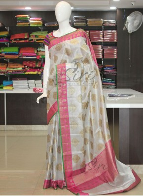 Simple Elegant Soft Silver Gold Tissue Saree