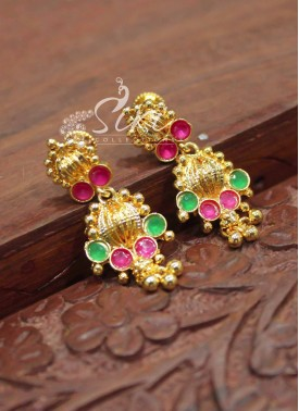 Simple Emerald Ruby Micro Polish Gold Plated Earrings