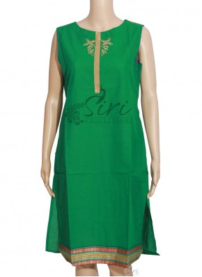 Simple Green Cotton Kurti