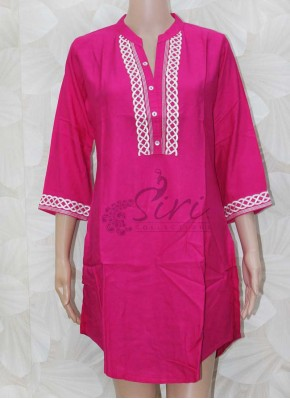 Simple Pink Rayon Short Kurti