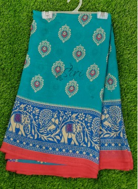 Simple Printed Fancy Georgette Saree