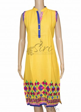 Simple Yellow Cotton Kurti with Collar