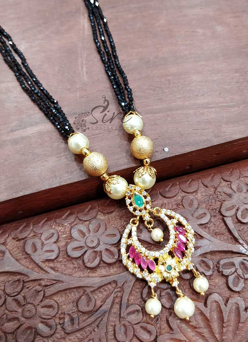 Small Black Spinels Mangalsutra in Designer AD Stone Pendant
