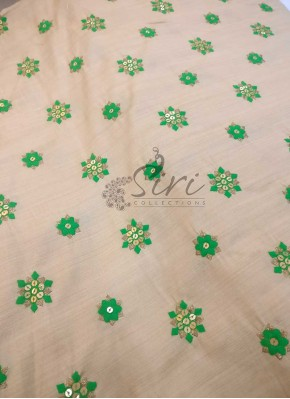 Soft Fancy Khadhi Silk in Beige with Green Embroidery Work