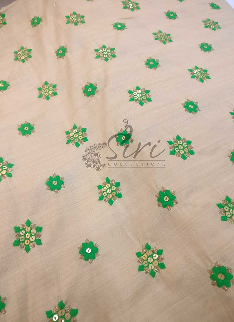 Soft Fancy Cotton Silk Blend Fabric with Green Embroidery Work