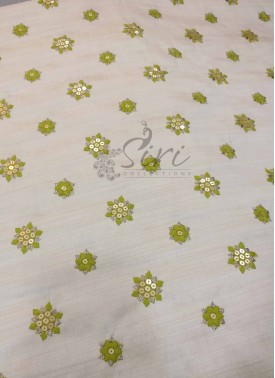 Soft Fancy Cotton Silk Blend Fabric in Beige with Mehendi Green Embroidery Work