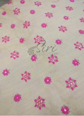 Soft Fancy Khadhi Silk in Beige with Pink Embroidery Work