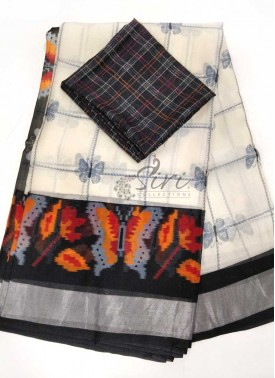 Soft Jute Saree in Butterfly Design Print