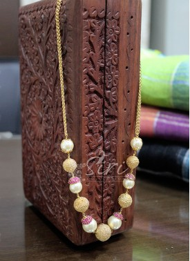South Sea Pearls Alike Beads Fashion Jewellery Chain Necklace