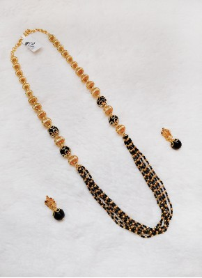 Spinels and Gold Micro Polish Balls Chain Necklace Set