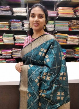 Teal and Black Banarasi Kora Saree in Ikat Weave