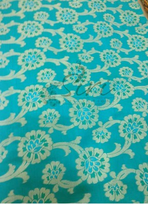 Teal Blue Green Fancy Silk Fabric in Self Design Per Meter