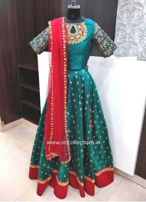 Teal Green Raw Silk Lehenga With HandWork Crop Top and Dupatta