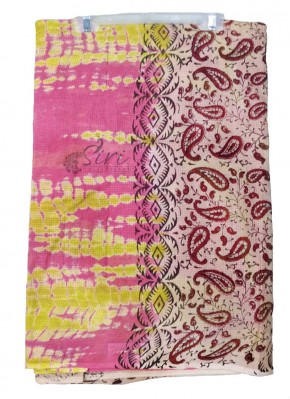 Tie Dye and Printed Cotton Saree in Self Checks