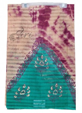 Tie Dye and Printed Cotton Saree in Self Stripes
