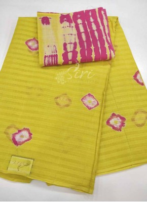 Tie Dye Cotton Saree in Self Stripes Design