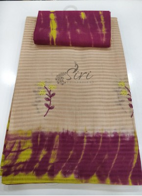 Tie Dye Cotton Saree in Self Stripes Design and Embroidery Work Butis