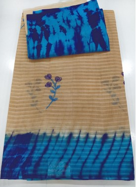Tie Dye Cotton Saree in Self Stripes Design and Em