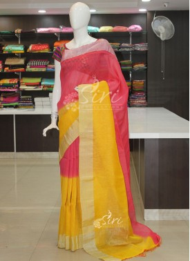 Tomato Pink Yellow Jute Linen Saree in Silver Zari